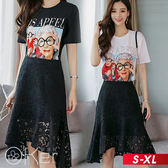 中大尺碼 另類老人圖案印花短袖T恤+蕾絲魚尾半身裙套裝 S-XL O-ker歐珂兒 163030-C