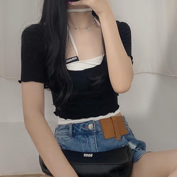 yami自制crank大圓領修身短款露臍高腰短袖T恤上衣女夏黑色潮ins 非凡小鋪
