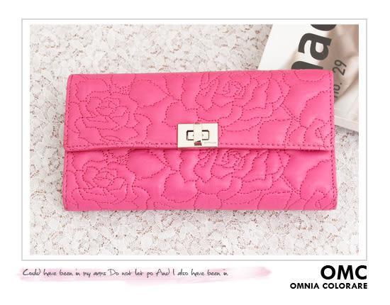 OMC - 專櫃花卉浮雕紋真皮長夾 - 甜美桃