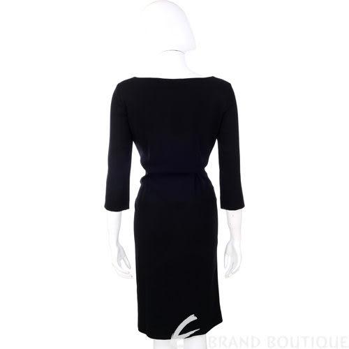 ALBERTA FERRETTI 黑色抓褶七分袖洋裝 1010370-01
