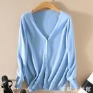 針織外套 反季清倉秋針織開衫女短款長袖防曬衣外套V領純色針織衫大碼毛衣 歐歐