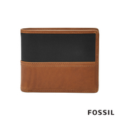 FOSSIL Tate 焦糖色撞色真皮RFID短夾 ML3846222