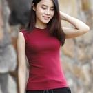 背心  半中高領無袖女式背心 年春季新款時尚打底小衫女裝韓版洋氣
