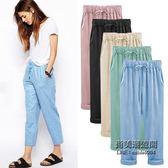 大尺碼女褲子高腰顯瘦麻棉透氣清涼純色鬆緊腰哈倫褲肥婆胖