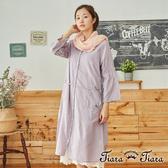 【Tiara Tiara】百貨同步aw 開襟綁帶泡泡袖洋裝(紫/綠)