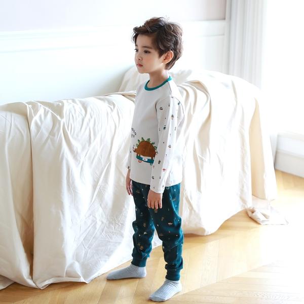 【北投之家】男童睡衣套裝 雙面棉九分袖上衣+長褲 米白箭龍 | 正韓童裝 (兒童/小孩/小朋友)