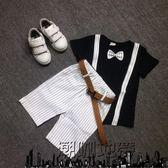 618好康又一發兒童禮服男童禮服套裝純棉短袖T恤條紋短褲「潮咖地帶」