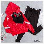 Catworld GIRL CRUSH。BRA背心加外套長褲運動套裝三件組 【16600224】‧S/M/L/XL