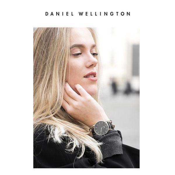 Daniel Wellington DW 手錶 32mm銀框 Classic Petite 爵士黑真皮皮革錶