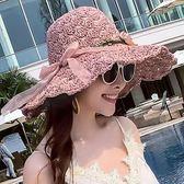 沙灘帽-夏天沙灘海邊度假遮陽防曬帽休閒花朵大檐可折疊太陽帽 花間公主