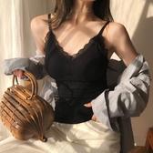 秋季新款加厚保暖帶胸墊花邊透氣保暖內衣打底衫吊帶背心女潮 青山市集