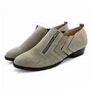 全真皮牛巴戈車線拉鍊短靴-墨綠灰‧karine(MIT台灣製)