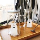可愛卡通熊耐熱玻璃水杯子大容量早餐牛奶杯創意網紅果汁杯可帶蓋
