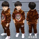 男童套裝 童裝男童秋裝套裝大碼新款春秋季中小童兒童韓版加絨金絲絨兩件套 Mt7836【黑色妹妹】