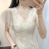 禮服 復古網紗旗袍裙改良版少女超仙氣連衣裙新款夏季減齡裙子