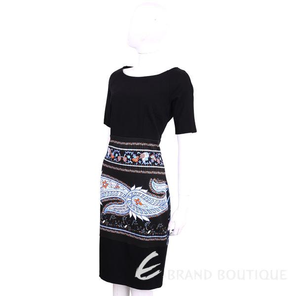 CLASS Roberto Cavalli 黑x藍色圖騰印花短袖洋裝 1620487-80