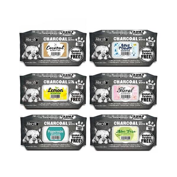 寵物家族-Absorb Plus 寵物活性碳濕紙巾 (80入)6種香味