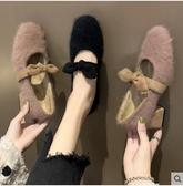網紅毛毛鞋女外穿秋冬新款粗跟高跟壹腳蹬蝴蝶結瑪麗珍鞋 韓國時尚週