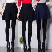 韓版秋冬季假兩件打底褲裙褲女學生外穿帶裙子冬天加絨加厚絨褲潮 夢曼森居家