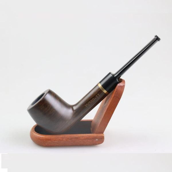 每週新品 360ym 印尼黑檀木扁嘴直式煙斗 帶金屬加固環 實木煙斗 送配件