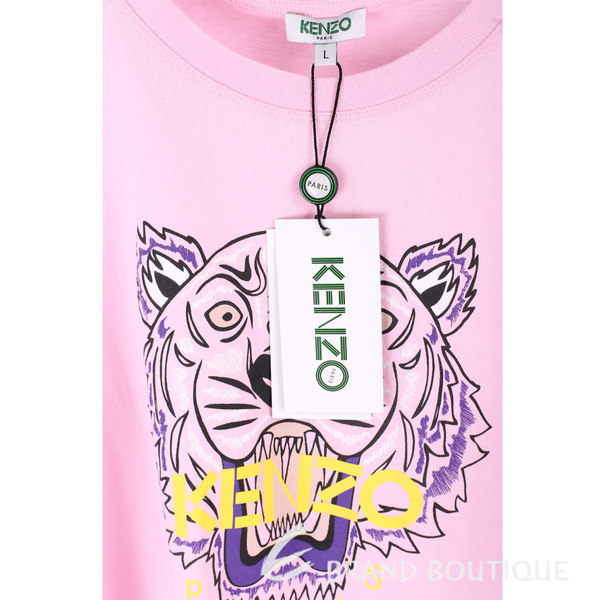 KENZO Tiger 虎頭印花粉色棉質T恤 1820082-05