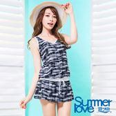 【夏之戀SUMMER LOVE】加大碼大女連身裙二件式泳衣-S17726