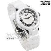 NATURALLY JOJO 晶鑽羅馬陶瓷錶 女錶 鏤空珍珠螺背面盤 白 JO96798-81F  防水手錶