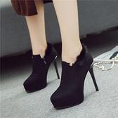 裸靴 2020秋冬新款 超高跟細跟黑色尖頭裸靴 防水台兔毛深口女單鞋短靴子 店慶降價
