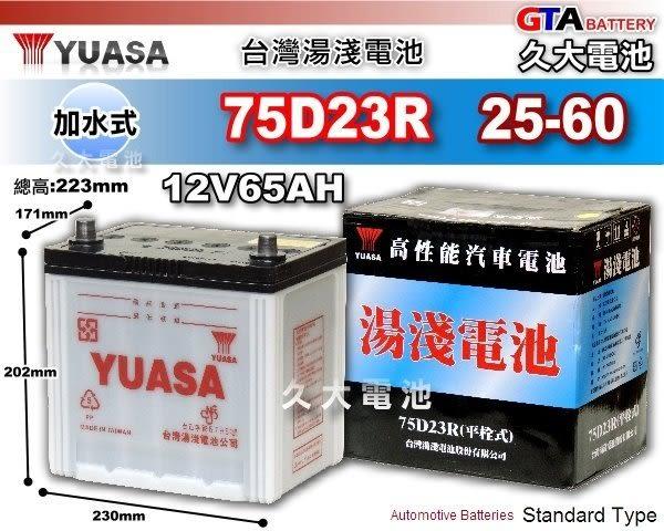 ✚久大電池❚ YUASA 湯淺 75D23R 加水式 汽車電瓶 55D23R 適用