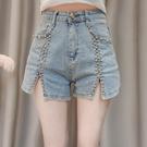 2021年夏裝新款春季流蘇水鉆喇叭網紅爆款高腰牛仔褲女士短褲子潮 伊蘿