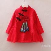 童裝女童夏季裝旗袍裙子2歲女寶寶蕾絲洋氣長袖洋裝3長袖4公主裙5