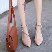 綁帶涼鞋-新款春季細跟高跟鞋單鞋韓版百搭尖頭交叉綁帶女鞋包頭涼鞋女 提拉米蘇