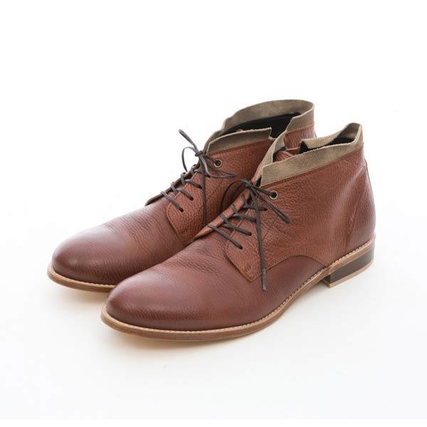 皮革底雙色拼接沙漠靴#42215咖啡 -ARGIS日本製手工皮鞋