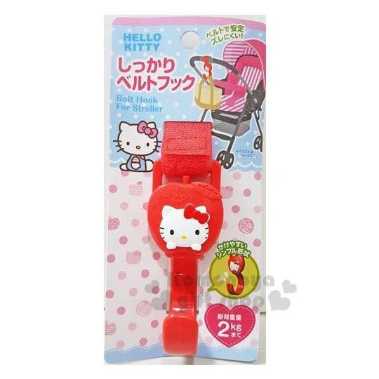〔小禮堂〕Hello Kitty 嬰兒車用掛勾《紅.蘋果.大臉》多功能.魔鬼氈固定.銅板小物 4573135-57628