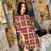 (快出) 寬鬆版旗袍年輕款少女秋冬新復古中國風改良版新式連身裙優雅