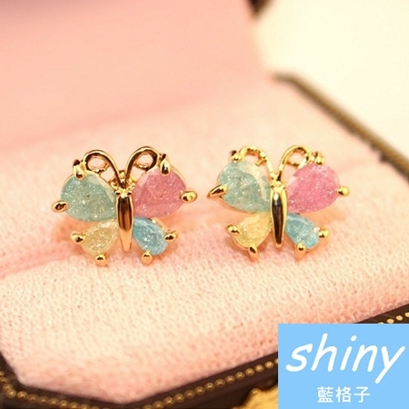 【DJW5403】shiny藍格子-清新精緻蝴蝶閃亮仿鑽耳環