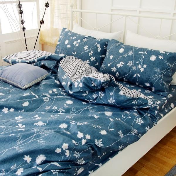加大床包(含枕套)【那時花開】絲絨棉磨毛、柔軟透氣、四季皆宜、寢居樂台灣製
