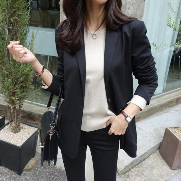 蕾可妮斯小西裝女2019新款春秋女士西服甜美簡約外套長袖韓版修身