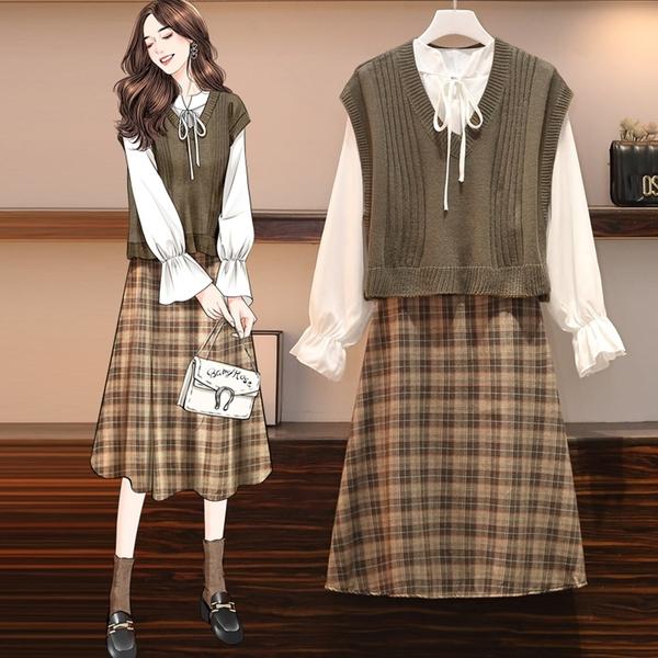 【A5213】白襯衫+針織背心+蘇格蘭裙 套裝 L-4XL