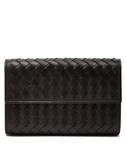BOTTEGA VENETA 經典編織小羊皮釦式中長夾 手拿包 皮夾 (黑色)