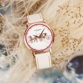 Coach Delancey 品牌LOGO時尚手錶-銀x玫塊金框/36mm CO14502973