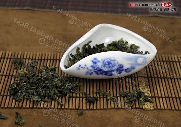 青花牡丹釉下彩 精品玉瓷茶荷