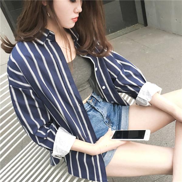 (免運)DE shop - 復古翻領條紋襯衫 - XA-8059