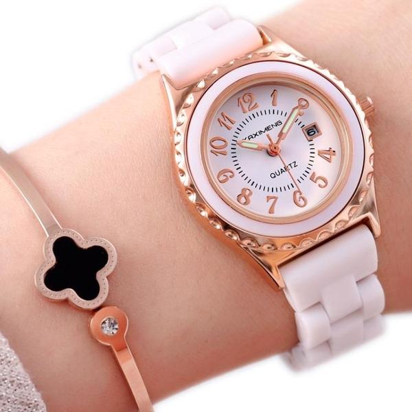 防水日歷時尚夜光女士腕錶保修女手錶韓版石英仿陶瓷錶 萬客居