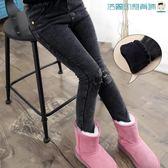 【618好康又一發】女童褲子加絨牛仔褲冬中大童打底褲兒童一體絨加厚褲子小腳褲靴褲
