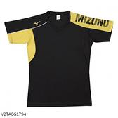 MIZUNO 男裝 女裝 短袖 排球 羽球 吸汗快乾 合身版型 黑黃【運動世界】V2TA0G1794