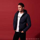 【GIORDANO】男裝輕量修身連帽鋪棉外套-66 標誌海軍藍