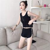 運動套裝 夏天新款韓版純色修身顯瘦短款運動背心 鬆緊腰休閒短褲套裝女潮 芭蕾朵朵