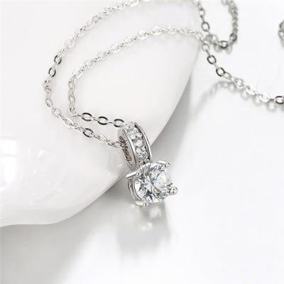 項鍊 純銀鍍白金鑲鑽吊墜-氣質端莊生日情人節禮物女飾品73ck42【時尚巴黎】