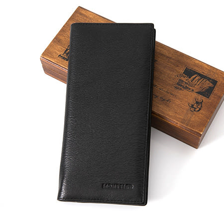 皮夾 簡約素面壓紋質感Logo真皮長皮夾錢包 實用CP值高 水波紋皮革 柒彩年代【NW440】空間寬廣